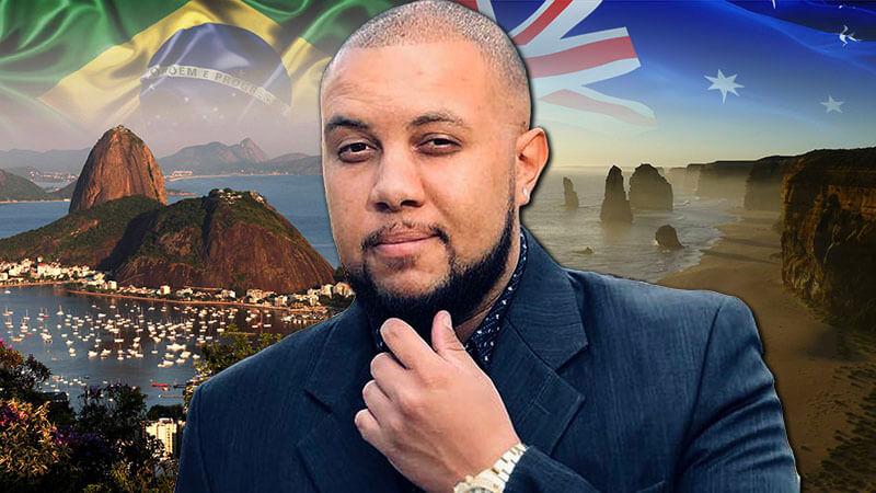 image shows brazilian english teacher rodrigo honorato in front of brazilian and australian scenary