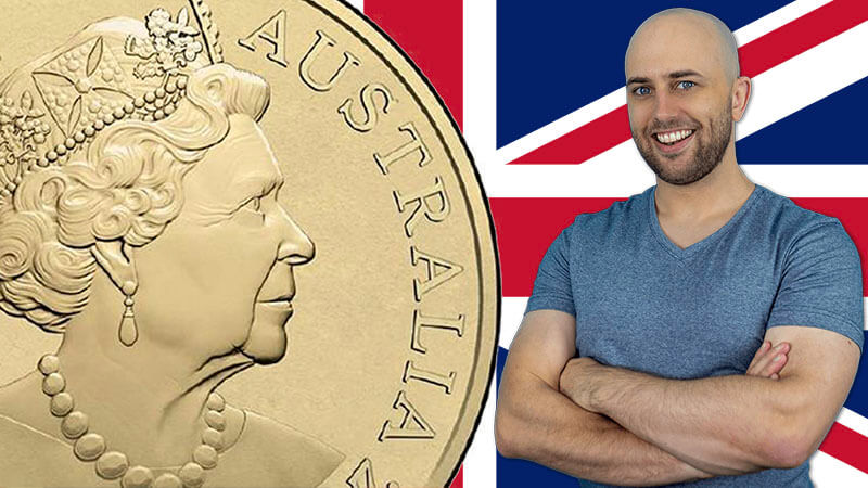 image shows pete smissen standing in front of a british flag with the image of the Queen of England on an australian coin