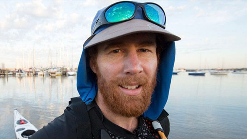 image shows australian adventurer and youtuber beau miles in canoeing gear