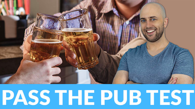 """image shows smiling pete smissen with image of people doing a cheers with several glasses of beers with the text """"pass the pub test"""" below"""