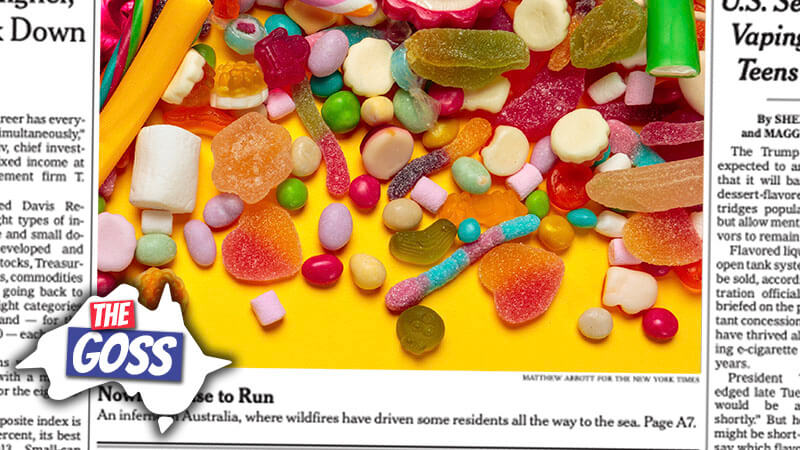 image shows the contents of a mixed bag of lollies spilt on a table
