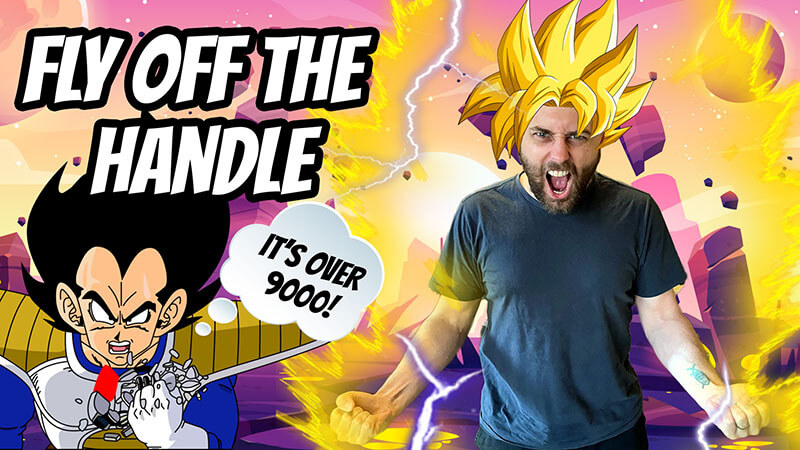 """cover image of expression episode fly off the handle from aussie english podcast with pete going super saiyan like a dragon ball z character and vegeta saying """"it's over 9000!"""""""