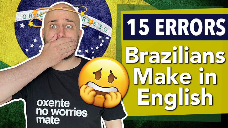 "shows a shocked pete smissen looking confused with title reading ""15 errors brazilians make in English"""