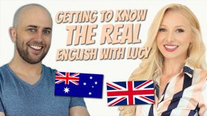 """cover image showing pete smissen and lucy earl from english with lucy and the title """"getting to know the real English with Lucy"""""""