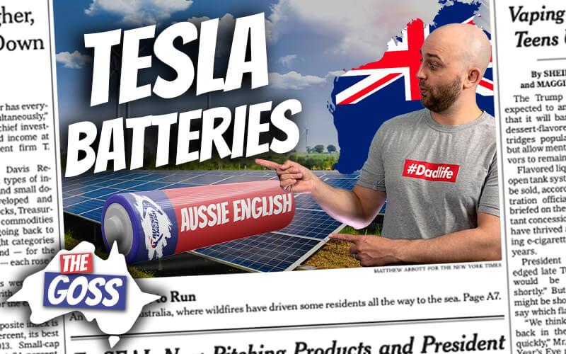 pete smissen, host of aussie english, the goss australia, talks to ian smissen father, talks about giant tesla battery in australia, tesla battery project australia