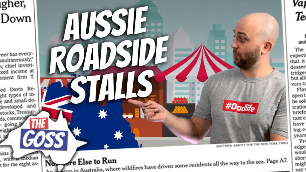 pete smissen, host of aussie english podcast, ian smissen father, the goss australia, farmers in tasmania, australia, honesty system roadside stalls, produce farmers australia